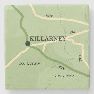 Killarney County Kerry Ireland Road Map Stone Coaster