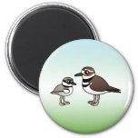 Killdeer & chick 6 cm round magnet
