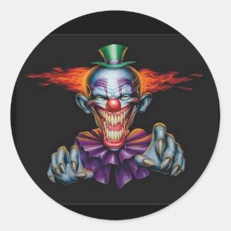Killer Evil Clown Round Sticker