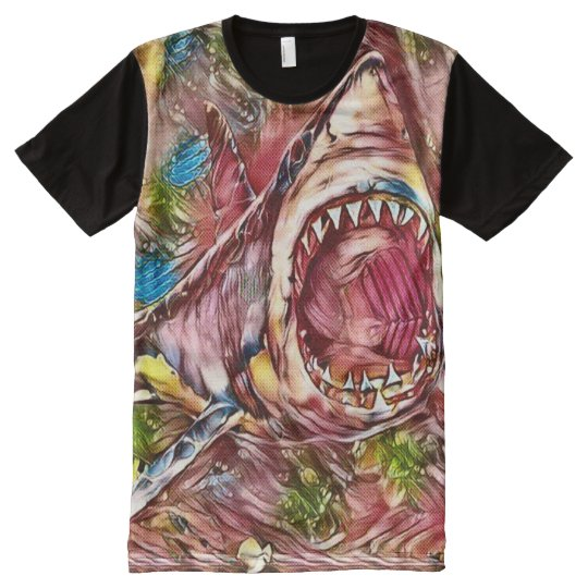 Killer Great White Shark Watercolor Pencil Art All-Over Print T-Shirt