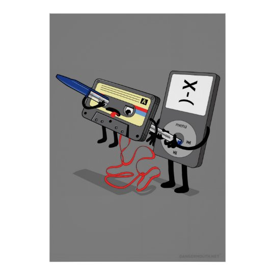 Killer Ipod Clipart (Retro Floppy Disc Cassette) Poster
