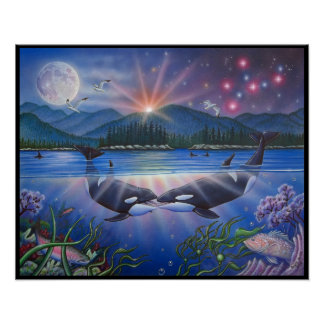 Killer Kiss Whale Painting Poster