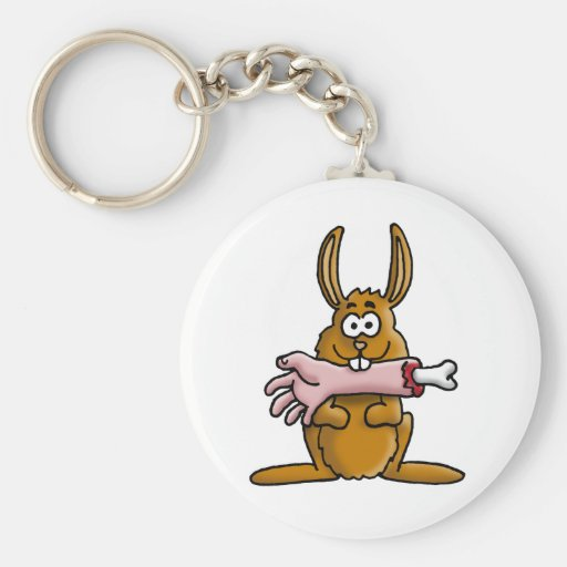 killer rabbit basic round button key ring