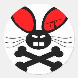 Killer Rabbit Cartoon Round Sticker
