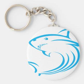 Killer Shark in Swish Drawing Style Key Ring