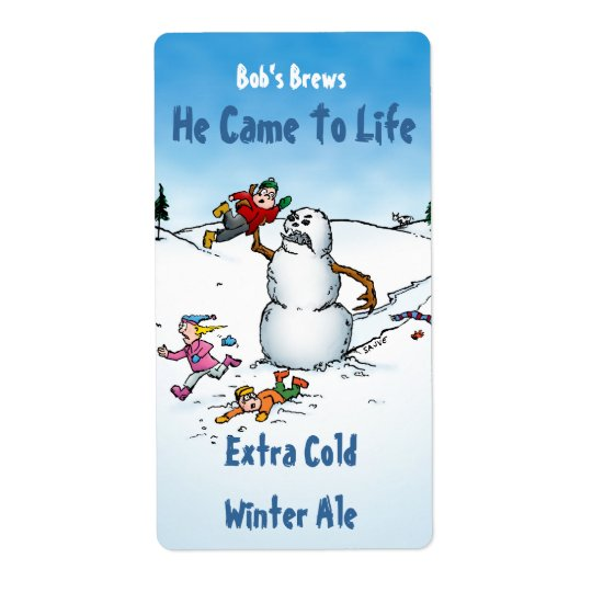 Killer Snowman Funny Beer Labels