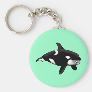 killer whale basic round button key ring