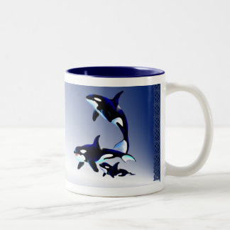 Killer Whale Family,_Mugs Two-Tone Coffee Mug