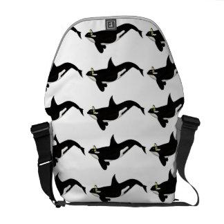 Killer Whale Listening To music Yellow Headphones Messenger Bag