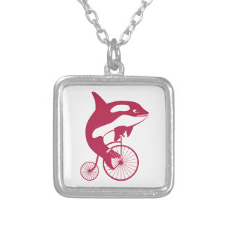 Killer Whale on Vintage Bike Silver Plated Necklace