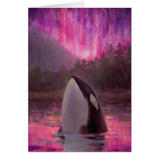 Killer Whale Orca and Pink/Magenta Northern Lights Greeting Card
