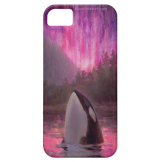 Killer Whale Orca and Pink/Magenta Northern Lights iPhone 5 Cover