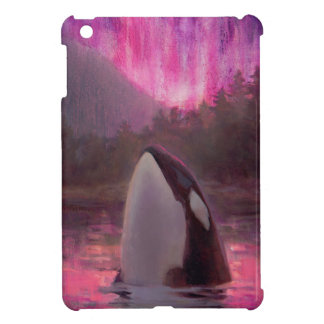 Killer Whale Orca and Pink/Magenta Northern Lights iPad Mini Case