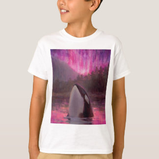 Killer Whale Orca and Pink/Magenta Northern Lights T-Shirt