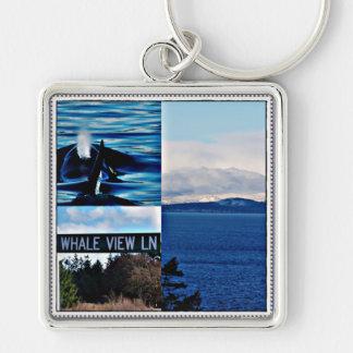 Killer Whale Scenic View mountain seascape keychai Key Chain
