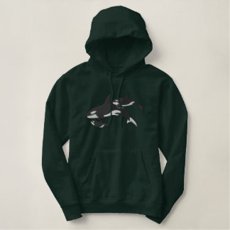 Killer Whales Embroidered Hoodies