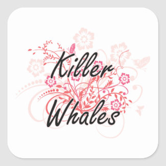 Killer Whales with flowers background Square Sticker