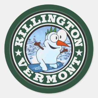 Killington Snowman Circle Round Sticker
