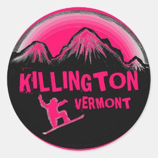Killington Vermont bright pink snowboard stickers