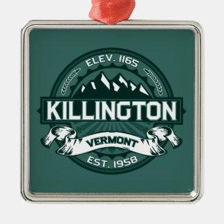 """Killington """"Vermont Green"""" Silver-Colored Square Decoration"""