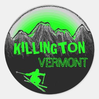 Killington Vermont green skier stickers