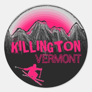 Killington Vermont pink skier stickers