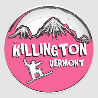 Killington Vermont pink snowboarder stickers