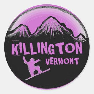 Killington Vermont purple snowboarder stickers