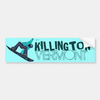 Killington Vermont teal snowboarder bumpersticker Bumper Sticker