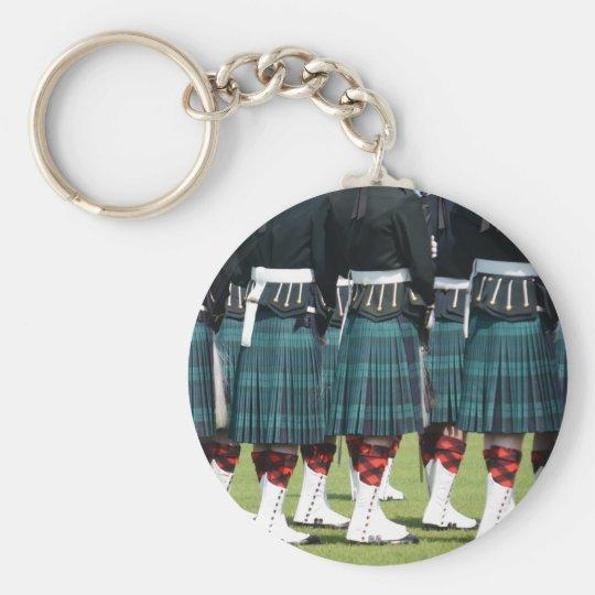 Kilted Men in Edinburgh, Scotland Basic Round Button Key Ring