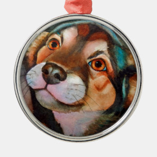 Kimba,Shepherd Terrier Mix Silver-Colored Round Decoration