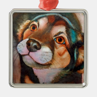 Kimba,Shepherd Terrier Mix Silver-Colored Square Decoration