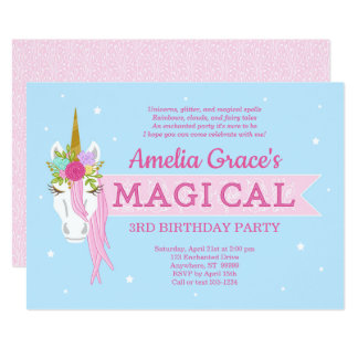Kimbellished Unicorn Birthday Invitation Layout #3
