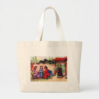 Kimono Cats Have Tea (Vintage Image) Large Tote Bag
