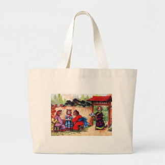 Kimono Cats Have Tea (Vintage Image) Jumbo Tote Bag