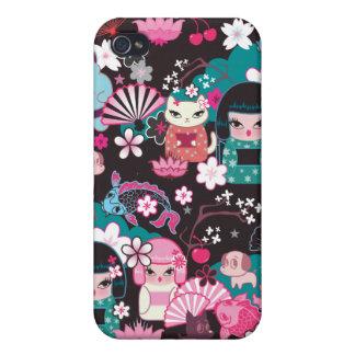 Kimono Cuties Kawaii Iphone case by Fluff iPhone 4 Case
