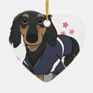 Kimono Dachshund Ceramic Heart Decoration