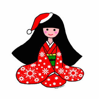 Kimono Girl Christmas Cartoon Illustration Photo Cut Out