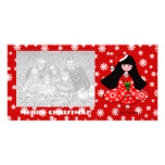 Kimono Girl Christmas Cartoon Snowflakes Photo Card