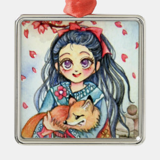 Kimono Girl Holding Little Fox Silver-Colored Square Decoration