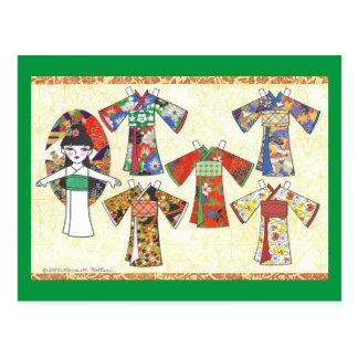 Kimono Girl Kokeshi Paper Doll Postcard