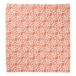 Kimono print, coral orange and white bandana
