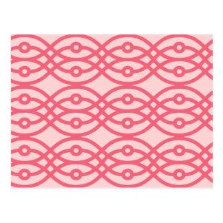 Kimono print, coral pink postcard