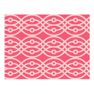 Kimono print, deep coral pink postcard