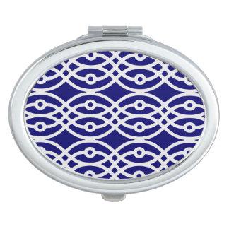 Kimono print, silver grey and navy blue makeup mirrors