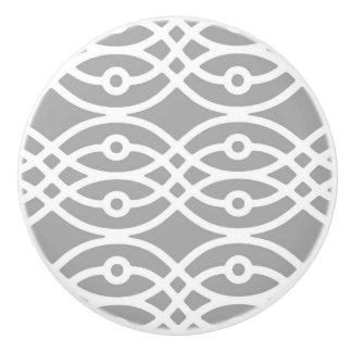 Kimono print, silver grey and white ceramic knob