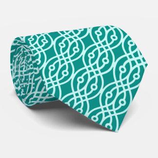 Kimono print, turquoise and aqua tie