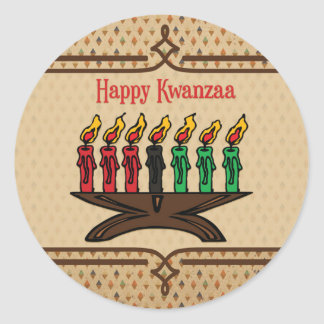Kinara, Happy Kwanzaa Round Sticker