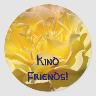 Kind Friends! postage stamps Yellow Rose Customize Round Sticker