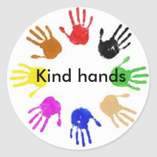 Kind- Hands Classic Round Sticker